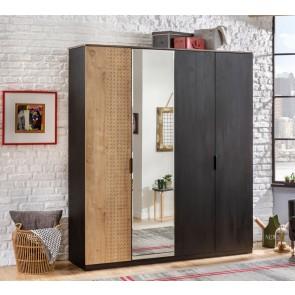 Szafa 4 drzwiowa z lustrem Black Cilek