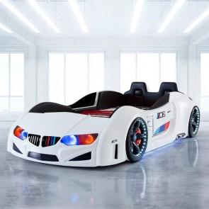 BMV PLUS łóżko w kształcie samochodu - bialy