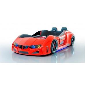 BMV PLUS łóżko w kształcie samochodu - czerwony