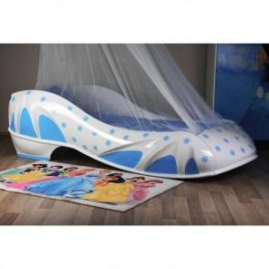 Łóżko dziewczęce BUT kolor biały z niebieskim