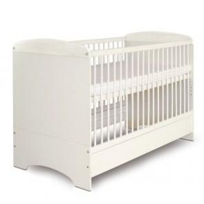 Mokko Amelia – Łóżeczko dla niemowlaka z funkcją tapczanika – 140x70 cm – Białe