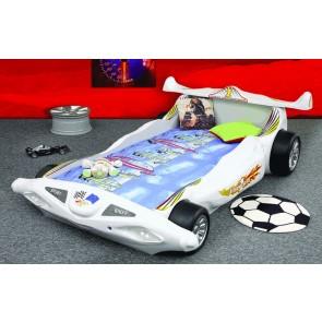 Łóko samochód Formuła 1 biały