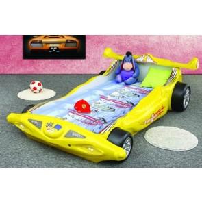 Łóżko samochód Formuła 1 żółty