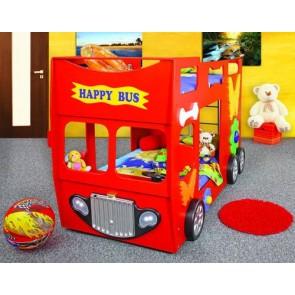 Łóżko piętrowe Happy Bus czerwony